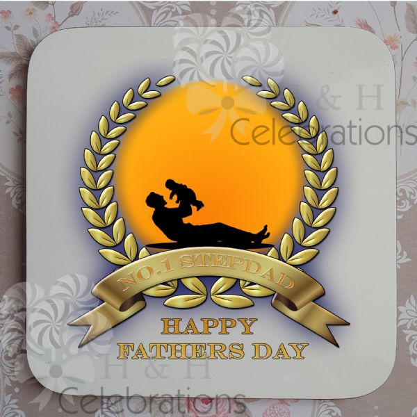 No 1 Stepdad And Infant Laurel Silhouette Personalised Coaster